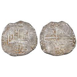 "Potosi, Bolivia, cob 8 reales, 1629T, large-dot borders, ex-""Panama hoard."""