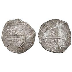 Potosi, Bolivia, cob 8 reales, 1629T, denomination dot-8-dot, fine-dot borders.