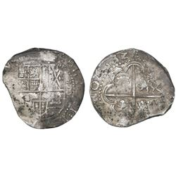 Potosi, Bolivia, cob 8 reales, 1632(T), +-shaped ornaments (rare).