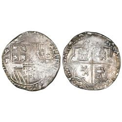 Potosi, Bolivia, cob 4 reales, Philip II, assayer B (2nd period).