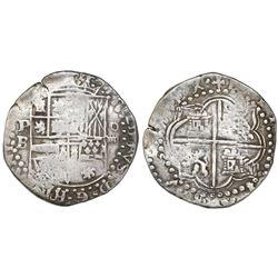 Potosi, Bolivia, cob 4 reales, Philip II, assayer B (2rd period).