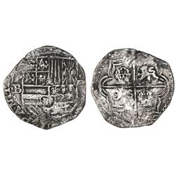 Potosi, Bolivia, cob 4 reales, Philip II, assayer B (5th period), borders of x's.