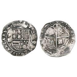 Potosi, Bolivia, cob 2 reales, Philip II, assayer L/M, rare.