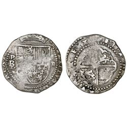 Potosi, Bolivia, cob 2 reales, Philip II, assayer B/L (1st period).