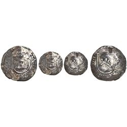 Potosi, Bolivia, cob 1/4 real, Philip II, assayer R (Rincon) to right, mintmark P to left, rare.
