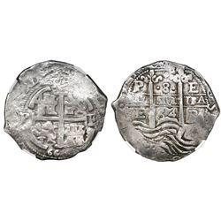 Potosi, Bolivia, cob 8 reales, 1664E, NGC VF 25.