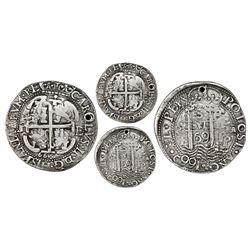 Potosi, Bolivia, cob 8 reales Royal (galano), 1669E with 669/8 on cross side (unique).