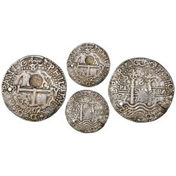 Potosi, Bolivia, cob 8 reales Royal (galano), 1702Y, with Guatemala sun-over-mountains (Type II, 183