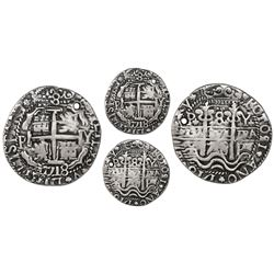 "Potosi, Bolivia, cob 8 reales Royal (galano), 1718Y, ""condor"" ornaments in legends and interiors."