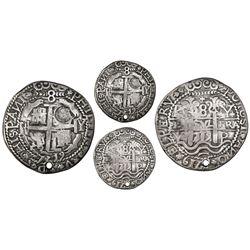 Potosi, Bolivia, cob 8 reales Royal (galano), 1719Y,  condor  ornaments in legends and interiors, wi