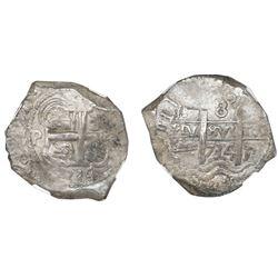 Potosi, Bolivia, cob 8 reales, 1734E, NGC AU 53.