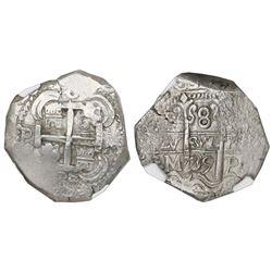 Potosi, Bolivia, cob 8 reales, 1739M, NGC AU 58.