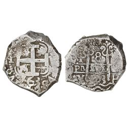 Potosi, Bolivia, cob 8 reales, 1763V-Y-V.
