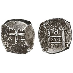 Potosi, Bolivia, cob 8 reales, 1771V-(Y), assayer V at upper right and bottom right (rare).