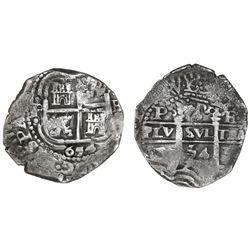 Potosi, Bolivia, cob 4 reales, 1654E, dot-PH-dot at top, ex-Capitana.