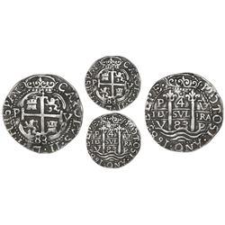 Potosi, Bolivia, cob 4 reales Royal (Galano), 1683V, extremely rare, PCGS XF detail.