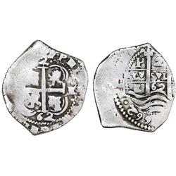 Potosi, Bolivia, cob 2 reales, 1662E.
