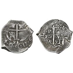 Potosi, Bolivia, cob 2 reales, 1691VR.