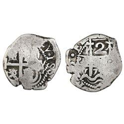 Potosi, Bolivia, cob 2 reales, 1725Y, Louis I.