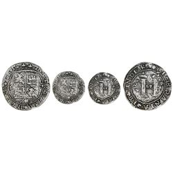 Santo Domingo, Dominican Republic, 4 reales, Charles-Joanna, assayer F to left, lions and castles tr