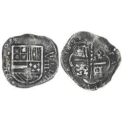 Cartagena, Colombia, cob 8 reales, 1628, assayer E below mintmark RN to left (RN-E), very rare, PCGS