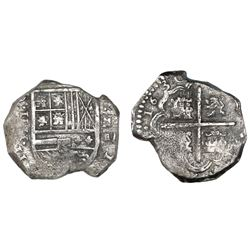 Cartagena, Colombia, cob 4 reales, 1630, assayer E below mintmark RN to right, rare, ex-Lasser.