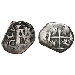 Bogota, Colombia, cob 1/2 real, Charles II (monogram of Philip III or IV), no assayer (Arce?), rare.