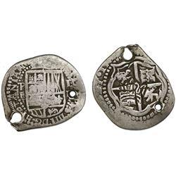 "Guatemala, ""moclon"" 2 reales, crown countermark (1662) on a Potosi, Bolivia, cob 2 reales, Philip IV"