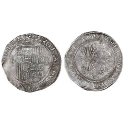 Seville, Spain, 4 reales, Ferdinand-Isabel, mintmark S and four circlets to left on obverse, assayer