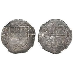 Seville, Spain, cob 2 reales, Philip II, assayer Gothic D at 4 o'clock on reverse, NGC VF 35.