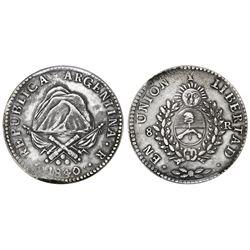 "La Rioja, Argentina, 8 reales, 1840, ""rebel peso,"" very rare, PCGS XF45."
