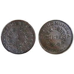 Buenos Aires, Argentina, copper 1 real, 1854, PCGS AU50.