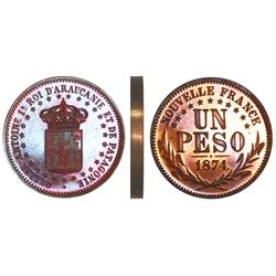 Patagonia and Araucania (New France), bronze pattern proof piefort 1 peso, King Orllie-Antoine, 1874
