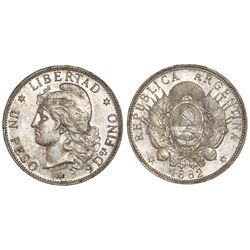 Argentina, 1 peso (patacon), 1882, NGC AU 58.