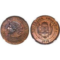 Argentina, copper essai 2 centavos, 1878, NGC MS 63 RB.