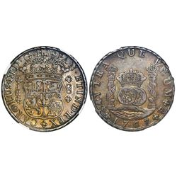 Potosi, Bolivia, pillar 8 reales, Charles III, 1767JR, four-petal rosette below shield, with dot aft