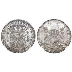 Potosi, Bolivia, pillar 8 reales, Charles III, 1768JR, four-petal rosette below shield, no dot after