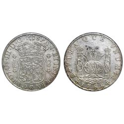 Potosi, Bolivia, pillar 8 reales, Charles III, 1768JR, six-petal florette, with dot after king's nam