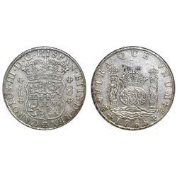 Potosi, Bolivia, pillar 8 reales, Charles III, 1768JR, six-petal florette, with dot after king's nam