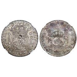 Potosi, Bolivia, pillar 8 reales, Charles III, 1769JR, round 9, no dot after king's name, NGC AU 53.