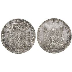 Potosi, Bolivia, pillar 8 reales, Charles III, 1770/69JR, with dot after king's name.