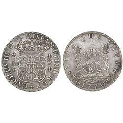 Potosi, Bolivia, pillar 8 reales, Charles III, 1770/69JR, with dot after king's name.