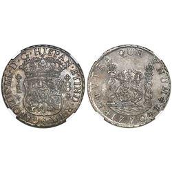 Potosi, Bolivia, pillar 8 reales, Charles III, 1770JR, with dot after king's name, NGC AU details /