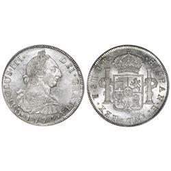 Potosi, Bolivia, bust 8 reales, Charles III, 1774JR, PCGS MS63+.
