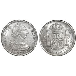 Potosi, Bolivia, bust 8 reales, Charles III, 1776PR, NGC MS 62, finest known in NGC census.