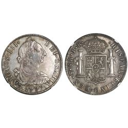 Potosi, Bolivia, bust 8 reales, Charles III, 1777PR, NGC AU 55.