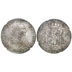 Potosi, Bolivia, bust 8 reales, Charles IV, 1792PR, NGC AU 58.