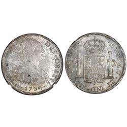 Potosi, Bolivia, bust 8 reales, Charles IV, 1796PP, NGC MS 61.