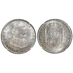 Potosi, Bolivia, bust 8 reales, Charles IV, 1802PP, NGC AU 58.