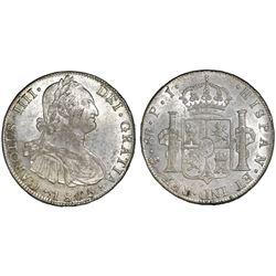 Potosi, Bolivia, bust 8 reales, Charles IV, 1805PJ.